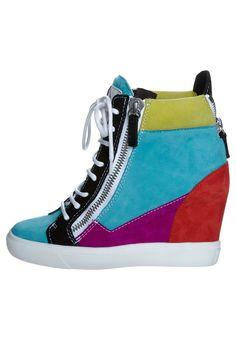Giuseppe Zanotti Multicolored High Top Wedge Sneakers