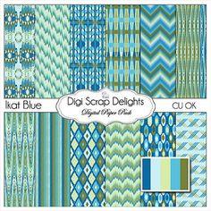 Ikat Scrapbook Paper in Blue & Green for by DigiScrapDelights