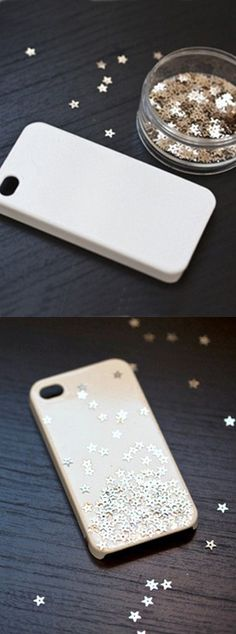 Inventive DIY Phone Cases Starry Case: Instead of using Mod Podge, this tutorial uses clear spray paint and then sprinkles a bunch of star-shaped glitter right on the case. Very cool. (via Whimsey Box)