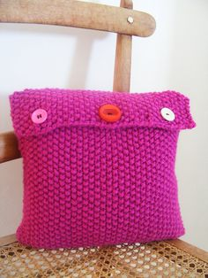 Hand knitted cushion cover with cushion inner 10X10.. £25.00, via Etsy.