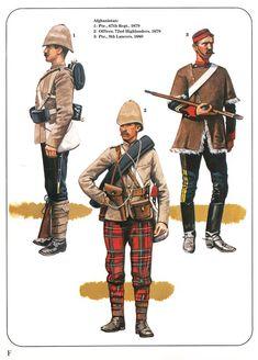 Afghanistan: 1:Pte.,67th Regt.,1879.2:Officer,72nd Highlanders,1879.3:Pte.,9th Lancers,1880.