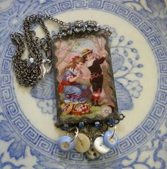 Soldered Glass Assemblage Charm Necklace  Never by Vintagearts