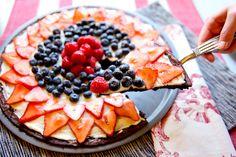 red, white, & blue dessert pizza <3