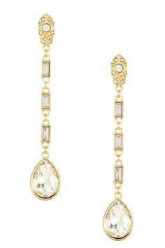 Crystal Stone Teardrop Earrings