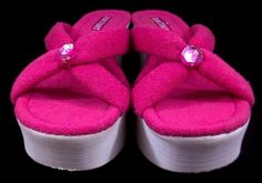 Colin Stuart Wedge Heel Flip Flops Pink Fabric Sandals Thongs Shoes Womens 9 M #ColinStuart #PlatformsWedges #Casual