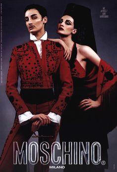 Erin O'Connor for Moschino, playing both a flamenco dancer and a toreador