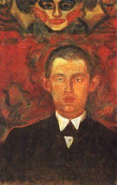 Edvard Munch (Norwegian: 1863-1944) - Self-Portrait Beneath Woman's Mask, 1892