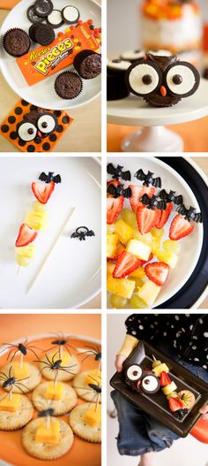 Halloween party - oreo owl cookies, spider fruit kebabs, spider crackers || Kara's Party Ideas
