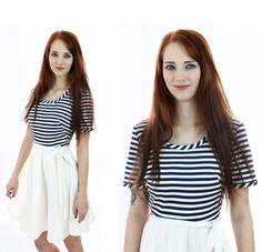 Striped MOD Dress 60s 70s Sailor Navy Blue by neonthreadsdesigns, $42.00