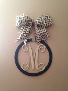 Wood Circle Monogram Letter by GBTButtonsNBows on Etsy