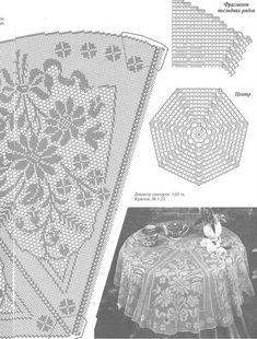 "Photo from album ""nov 2016 6 on Yandex. Crochet Curtain Pattern, Crochet Tablecloth Pattern, Free Crochet Doily Patterns, Crochet Doily Diagram, Crochet Bedspread, Crochet Curtains, Filet Crochet, Crochet Doilies, Crochet Flowers"