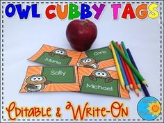 Whooo needs some Cubby Tags? If so, this is the product for you! Cute Owl cubby tags come in 7 different colors, 2 styles of owl graphics, all EDITABLE or WRITE-ON!