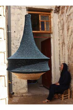 Joosh Crochet Pendant Light – Medium - All For Decoration Lampe Crochet, Luminaria Diy, Pendant Light Fitting, Lamp Design, Design Table, Design Design, House Design, Retro Lighting, Moroccan Design