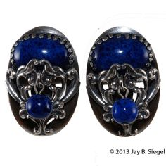 Napier 1950s Silver & Blue Lapis Dangle Bead Earrings from Chic Antiques by Pamela Wiggins on Ruby Lane