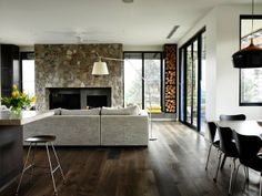 timber flooring Mink Grey American Oak timber floors have been used here by Austin Design Associates House, Engineered Timber Flooring, Home Fireplace, Timber Flooring, Family Living Rooms, New Homes, Home Decor, Home Deco, Flooring