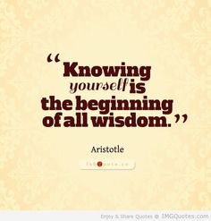 Knowing yourself is the beginning of all wisdow - Aristotle