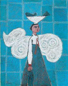 (Korea) Into the Blue by Kim Whanki (1913- 1974). Oil on canvas. Korean.