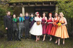 look at that rainbow bridal party! The Rainbow Wedding to End all Rainbow Weddings: Jen & Ben · British Brides · Wedding · Rock n Roll Bride (I would do it opposite) Rainbow Bridesmaid Dresses, Rainbow Wedding Dress, Colored Wedding Dresses, Wedding Colors, Wedding Styles, Rainbow Dresses, Dream Wedding, Wedding Day, Wedding Stuff