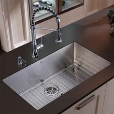 Stainless Steel Sink Table Combo : Stainless Steel 1-Handle Pull-Down Kitchen Faucet PD180-SS Stainless ...