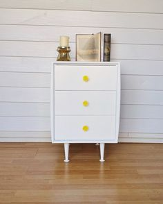 Retro hand painted drawers with hand made yellow rose knobs