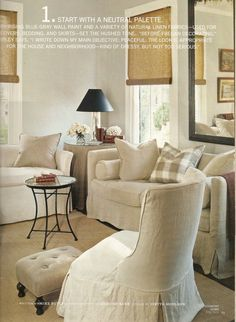 Country Home Feature. Start with a Neutral Palette. (love this living room so urban country chic, cozy & inviting) Interior Design Inspirations Cottage Chic Living Room, Cottage Style, Tudor Cottage, Cozy Living, Living Area, Living Spaces, Living Rooms, Family Rooms, House And Home Magazine