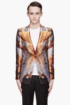 Alexander McQueen Gold And Ivory Dragonfly Wings Jacquard Blazer for men | SSENSE