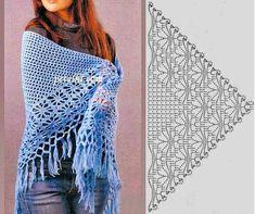 Luna Hobbs\'s media content and analytics Poncho Au Crochet, Crochet Shawl Diagram, Crochet Shawls And Wraps, Crochet Chart, Crochet Scarves, Crochet Clothes, Knit Crochet, Crochet Doilies, Prayer Shawl Patterns