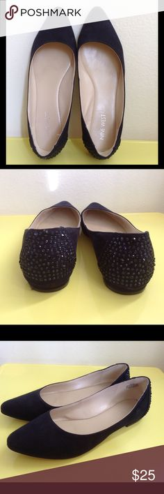 Nine West Suede Flats Size 6.5 Great condition.  Navy Blue almost black. Blue Rhinestones on the back of the shoes. Nine West Shoes Flats & Loafers