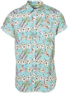 Green Jumbo Floral Pattern Short Sleeve Shirt - Topman