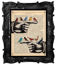 Bird Finger Print Upcycled Dictionary Page - I love this!!