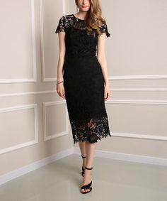 Look at this #zulilyfind! Black Lace Orchard Midi Dress - Plus Too #zulilyfinds