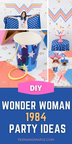 Throw a vibrant and fun Wonder Woman 1984 Inspired Birthday Party or Movie Watching Party with these ideas for DIY backdrop, table setting and more! Get all of the girl power superhero details now at fernandmaple.com! Hulk Party, Superman Party, Superhero Theme Party, Girls Birthday Party Themes, Girl Birthday Decorations, Birthday Parties, Wonder Woman Birthday, Wonder Woman Party, Girls Tea Party
