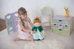 The blond doll Nora, for playing, made by the Waldorf technology. Can become a great gift for Birthday for your daughter or granddaughter. The girl Kate is of 17 inches (43 cm) height. It is a completely handmade creation on the Waldorf technology. Only high quality materials were used: