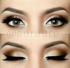 Brown and gold eye makeup Idea