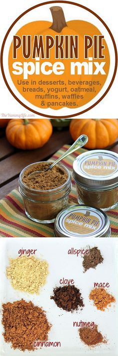 Pumpkin Pie Spice Mix is a 5-minute DIY using spices from your pantry. It's great to have on hand for a variety of seasonal recipes and gift giving. Printable labels are provided. From TheYummyLife.com