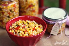 sweet corn refrigerator relish {No hot water bath processing involved}: a farmgirl's dabbles -- use as a dip with tortilla chips, on quesadillas, or grilled chicken salad!