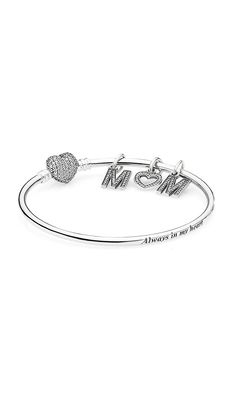 "Show her your appreciation with this adorable bracelet. ""Always in my heart"" is engraved in the bracelet. #PANDORA #PANDORAbracelet"