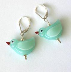 Little Bird Earrings by lunacyglass on Etsy, $45.00