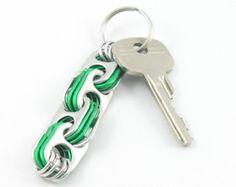 Green crosslink pop tab keychain, soda tab keyring, upcycled keychain, recycled keychain, pull tab keychain, soda can top keychain