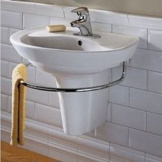 Save space and add convenience to your bathroom with American Standard's Ravenna Wall Mount Sink. The contemporary Ravenna Wall Mount Sink comes complete with a mounting kit for easy installation. The sink is available in a white, bone or linen finish to Small Bathroom Sinks, Ideal Bathrooms, Small Sink, Modern Bathroom, Master Bathroom, Bathroom Ideas, Compact Bathroom, Bathroom Pink, Bathroom Vanities