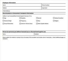 Harassment Complaint Form. Free Samples