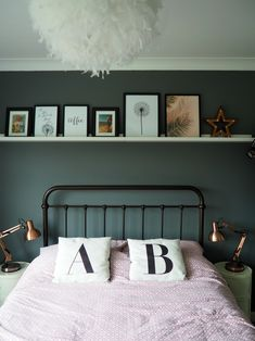 A grey bedroom update using Ikea Picture Ledges Picture Ledge Bedroom, Ikea Picture Ledge, Picture Shelves, Ikea Pictures, Bedroom Pictures, Home Decor Bedroom, Bedroom Ideas, Master Bedroom, Home Decor Inspiration