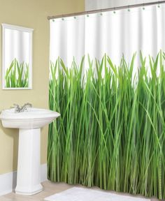 Fresh Green Grass shower curtains - I love the fresh, bright look of this! It would be awesome to wake up and walk into this in the bathroom every morning #spring #decor