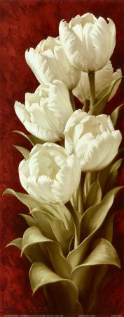Magnificent Tulips II Art Print by Igor Levashov. Find art you love and shop hig. Arte Floral, Watercolor Flowers, Watercolor Art, Painting Flowers, Mosaic Wall Art, China Painting, Vintage Flowers, Find Art, Flower Art