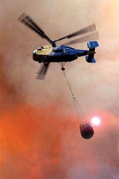"""Kamov Ka-32 with """"Bambi"""" Firefighting Bucket."""