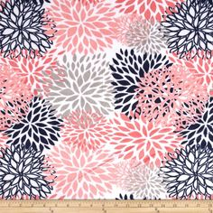 Premier Prints Mockingbird Minky Cuddle Blooms Coral from @fabricdotcom  Designed for Premier Prints, this printed minky fabric has an extremely soft 3 mm pile that's perfect for  blankets, throws, baby items, and pillows. Colors include coral, navy and silver on a snow background.