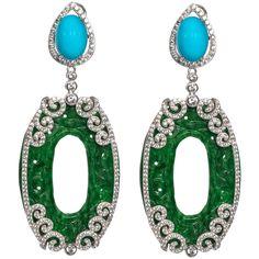 Fabulous Faux Turquoise Jade Diamond Long Earrings