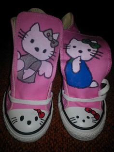 bb0acced30a0a6 Hello Kitty hand painted shoes converse hi or by LoveInspiredGoods