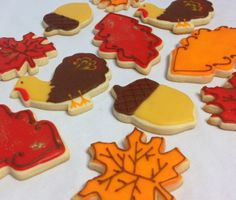 Autumn cookies that are hand decorated.