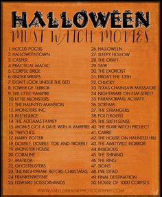 Halloween Movie Playlist - good ideas for the Halloween season
